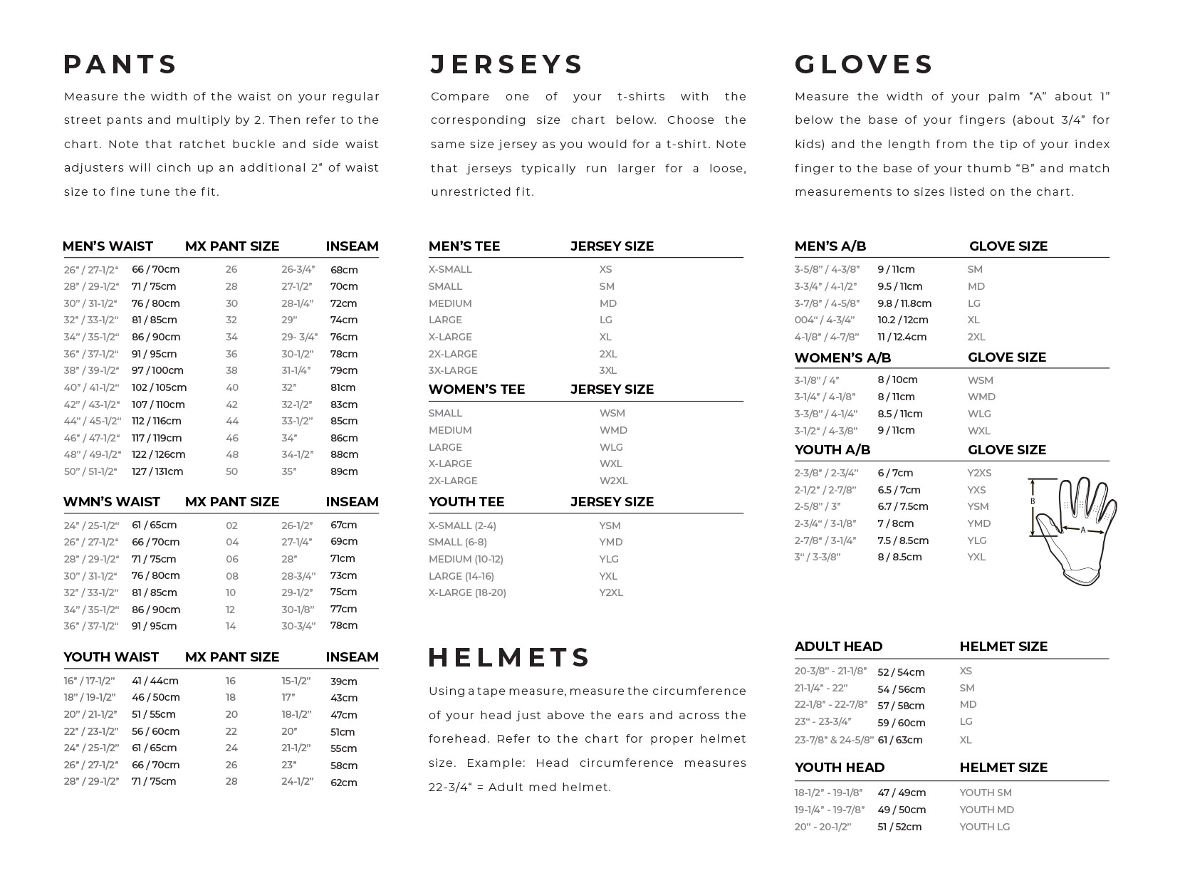 Answer Racing Size Chart Mx Riding Gear And Accessories Answer Racing Ansr